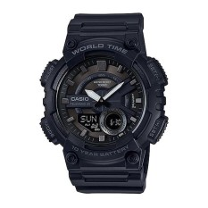 Casio Analog & Digital AEQ-110W-1B - Jam Tangan Pria - Hitam - Resin Band