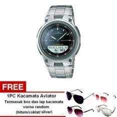 Casio Analog Digital Watch AW-80D-1AVDF - Jam Tangan Pria -Stainless steel band+ Free 1pc kacamata aviator dengan warna random termasuk kotak kacamata dan lap kacamata