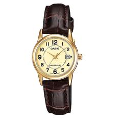 Casio Analog LTP-V002GL-9B - Jam Tangan Wanita - Brown & Gold - Leather Band