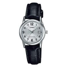 Casio Analog LTP-V002L-7B – Jam Tangan Wanita – Black & Silver – Leather Band