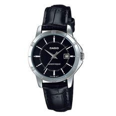 Casio Analog LTP-V004L-1A - Jam Tangan Wanita - Black & Silver - Leather Band