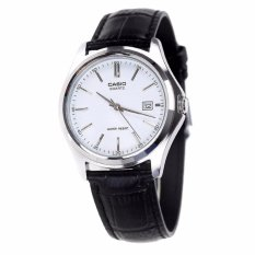 Casio Analog MTP-1183E-7A - Jam Tangan Pria - Black & Silver - Leather Band
