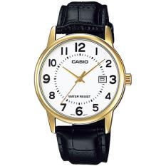 Spesifikasi Casio Analog Watch Jam Tangan Pria Cokelat Gold Genuine Leather Band Mtp V002Gl 7Budf Online