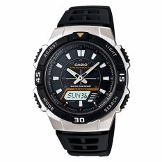 CASIO AQ-S800W-1EVDF - Youth Series - Tough Solar - World Time - Jam Tangan Pria - Bahan Tali Resin - Hitam
