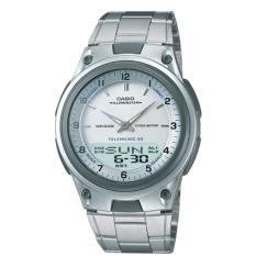 CASIO AW-80D-7AVDF - Digi-Ana - World time - Telememo - Jam Tangan Pria - Bahan Tali Stainless Steel - Silver