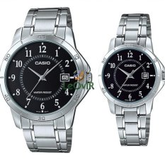 Promo Toko Casio Couple Mtp Dan Ltp V004D 1B Jam Tangan Couple Silver Strap Stainless Steel Lm
