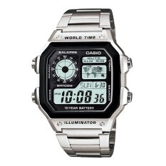 Promo Casio Digital Ae 1200Whd 1Av Stainless Steel Men S Watch Silver Casio