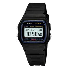 Casio Digital F-91W-1S - Jam Tangan Pria - Black - Resin Band