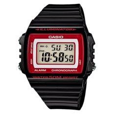 Casio Digital Jam Tangan Pria - Hitam - Strap Karet - W-215H-1A2