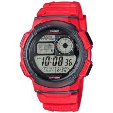 Harga Casio Digital Jam Tangan Pria Merah Strap Karet Ae 1000W 4A Baru