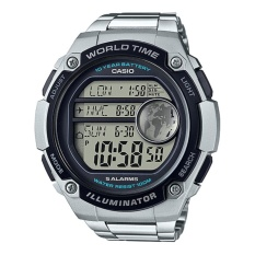 Casio Digital Jam Tangan Pria - Silver - Strap Rantai - AE-3000WD-1A
