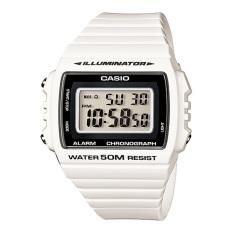 Casio Digital Jam Tangan Wanita - Putih - Strap Karet - W-215H-7A