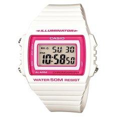 Casio Digital Jam Tangan Wanita - Putih - Strap Karet - W-215H-7A2