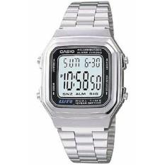 Casio Digital Jam Tangan Wanita - Silver - Strap Rantai - A-178WA-1A