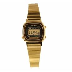 Casio Digital LA670WGA-1DF - Jam Tangan Wanita - Gold Black - Strap Stainless Steel - LM