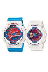 Casio G-shock dan Baby-G pria & wanita GA-110AC-7A dan ba- 112 yg 7 amp pasangan damar tali jam biru/putih
