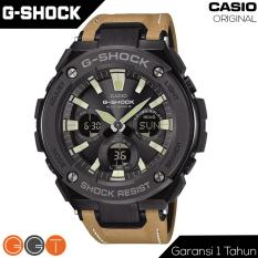 Casio G-Shock G Steel Dual Time - Tough Solar Movement - Jam Tangan Pria - Leather Strap - GST-120L