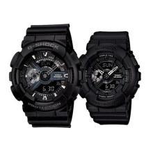 Casio G-Shock GA-110-1B & Baby-G BA-110BC-1A Men's & Women's Couple Resin Strap Watch - Black