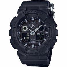 Casio G-SHOCK Men's Watch Militer Theme Cloth Band Hitam GA-100BBN-1A Hadiah untuk Pria-Intl