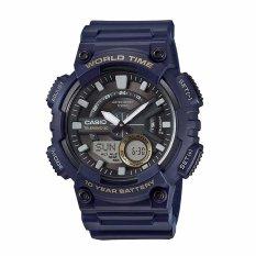 Spesifikasi Casio Umum Pria Watch Blue Resin Band Aeq 110W 2A 100 M Waktu Dunia Digital Analog Olahraga Watch Intl Terbaru