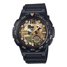 Casio General Men S Watch Black Resin Band Gold Dial Aeq 100Bw 9A 100 M Waktu Dunia Digital Analog Sports Watch Intl Casio Diskon 30