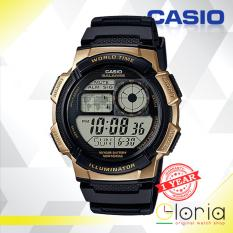 Jual Casio Illuminator Ae 1000W 1A3Vdf Jam Tangan Pria Tali Karet Digital Movement Black Gold Casio Ori