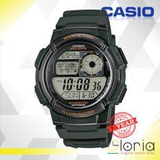 CASIO Illuminator AE-1000W-3AVDF Jam Tangan Pria Digital Movement Rubber Strap - ARMY