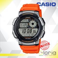 Miliki Segera Casio Illuminator Ae 1000W 4Bvdf Jam Tangan Pria Tali Karet Digital Movement Orange