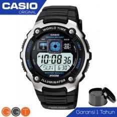 Casio Illuminator Cockpit Display Jam Tangan Pria - Resin Strap - AE 2000W 1A - Blue Display Stainless Steel Case