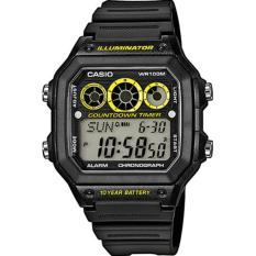 Casio Illuminator Countdown Timer D44H330AE1300WHHTMK Digital Jam Tangan Pria Rubber Strap