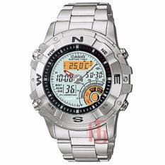 Casio Illuminator Hunting Timer D48H1088AMW704DSLV Dualtime Jam Tangan Pria Stainless Steel Chain