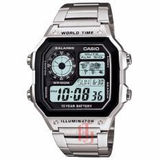 Casio Illuminator World Time D44H356AE1200WHDSLV Digital Jam Tangan Pria Stainless Steel Chain