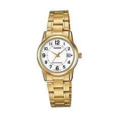 Casio Jam Tangan Ladies Analog LTP-V002G-7BUDF - Gold White