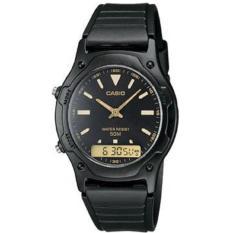 Casio Jam Tangan Pria dan Wanita Original - Dual Time - Water Resistant - Hitam - Strap Karet - AW-