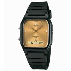 Casio Jam Tangan Pria dan Wanita Original - Dual Time - Water Resistant - Strap Karet - AW-48HE-9A Black Gold
