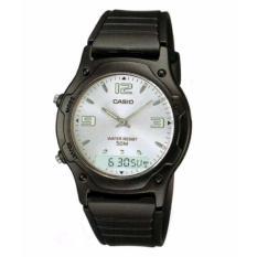 Casio Jam Tangan Pria dan Wanita Original - Dual Time - Water Resistant - Strap Karet - AW-49HE-7A Hitam Silver