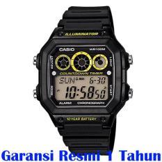 Casio - Jam Tangan Pria - Hitam-Hitam - Rubber Hitam - AE-1300WH-1AVDF
