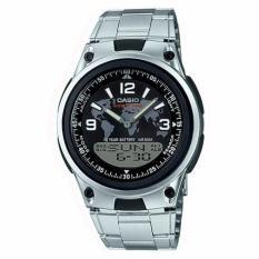 Casio Jam Tangan Pria Original - World Time Dual Time - Stainless Steel Strap - AW80D Silver Black