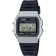 Casio Klasik Digital Jam Tangan Pria - Hitam - Strap Karet - F-91WM-
