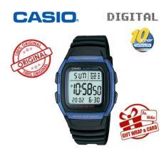 Jual Casio Pria Standar Digital Black Resin Band Watch W96H 2A Import