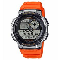 Casio Digital AE-1000W-4BV - Jam Tangan Pria - Orange & Grey - Resin Band
