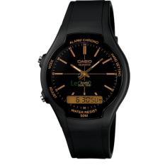 Diskon Casio Standard Aw 90H 9E Jam Tangan Pria Black Gold Strap Resin Akhir Tahun