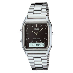 Casio Analog Digital AQ-230A-1DMQ - Jam Tangan Unisex - Black & Silver - Stainless Steel Band