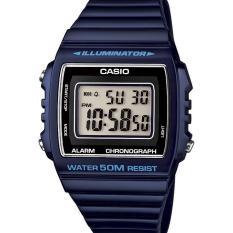 CASIO W-215H-2AVDF - Digital - Illuminator - Chronograph - Multifunction - Jam Tangan Unisex - Bahan Tali Resin - Hitam Biru