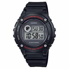 CASIO W-216H-1AVDF - Digital - Illuminator - Alarm Chrono - Multifunction - Jam Tangan Pria - Bahan Tali Resin - Hitam
