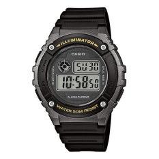 CASIO W-216H-1BVDF - Digital - Illuminator - Alarm Chrono - Multifunction - Jam Tangan Pria - Bahan Tali Resin - Hitam
