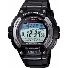 Casio Youth Digital Tough Solar W-S220-1AV - Jam Tangan Pria - Black Silver - Strap Resin