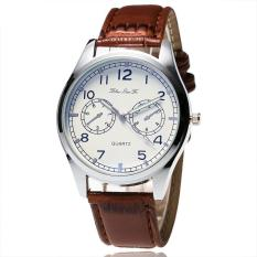 Casual Lover's Men's Shining Glass Leather Analog QUARTZ Sport Wrist Watch Hadiah-Intl
