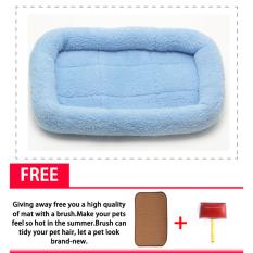 Tempat Tidur Kucing Kucing Sofa Kecil Pet Dog Bed Chihuahua Bed Soft Mat DogKennel Doggie Kennel PET Bed untuk Anjing Kecil Puppy Chihuahua Blanketbed + Mat + Brush) (biru Muda)-Intl