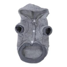 Kucing Anjing Pakaian Rajut Hangat Musim untuk Natal PUPPY Anjing Jaket Hooded Mantel Pakaian (Grey, S) -Intl